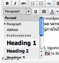 การใส่ h1 ในโหมด visual ทำได้ง่ายกว่า โดย highlight คำว่า pai ไว้ก่อนจากนั้นใช้เครื่องมือจาก drop down เลือก heading1 ก็ได้