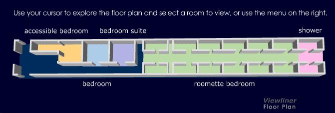 แปลนของตู้รถไฟ viewliner ครับ มี bedroom ใหญ่ 3 ห้อง